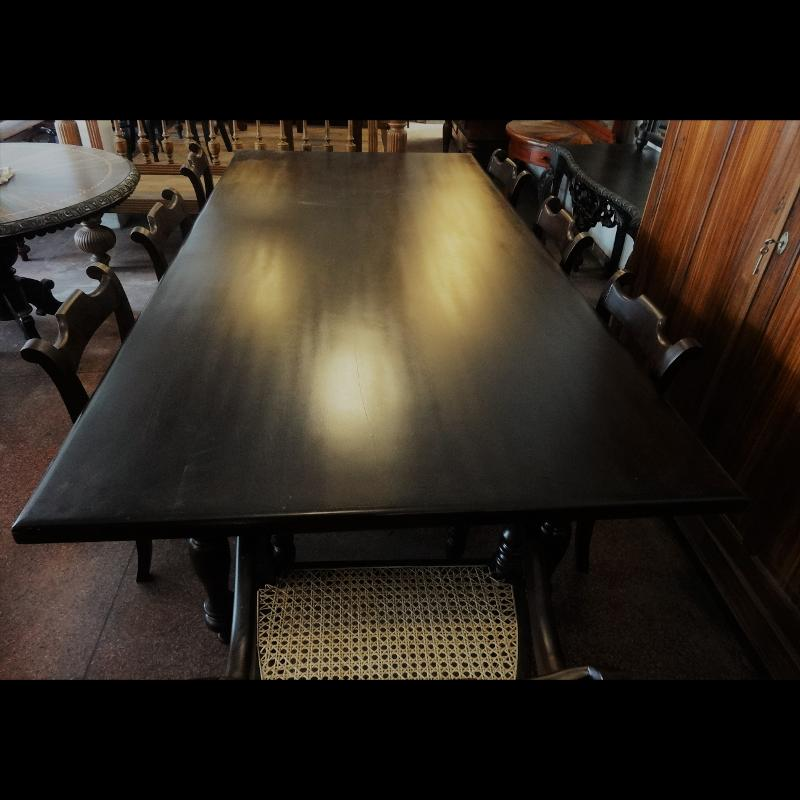 Dining Table with eight Chairs Aludel Wood Kitchen Table