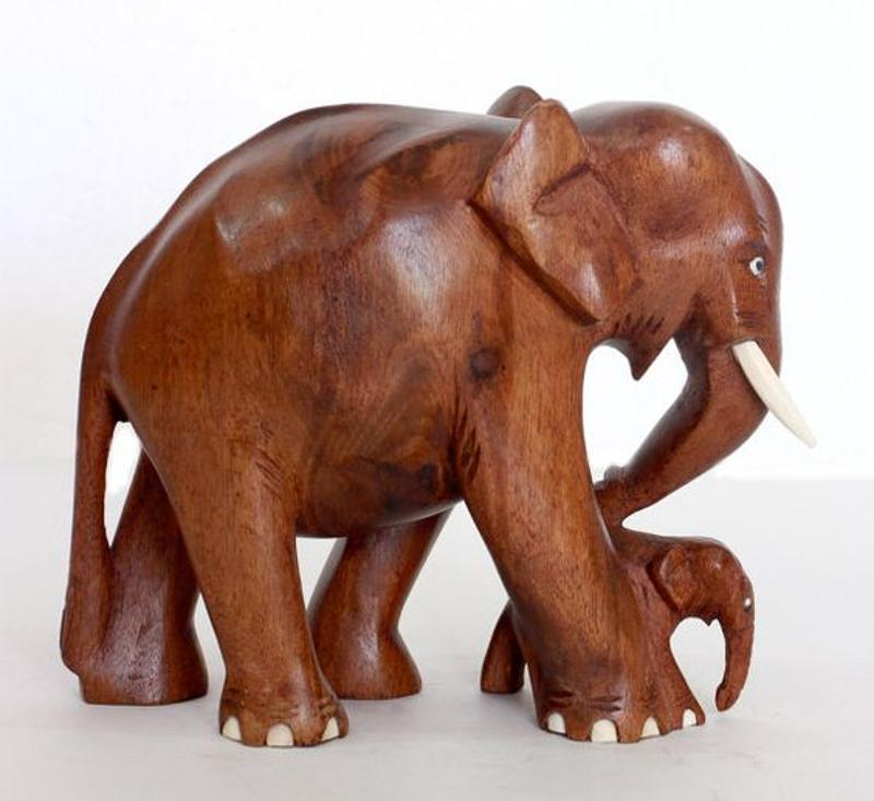 ELEPHANT WITH SMALL BABY NADUN WOOD