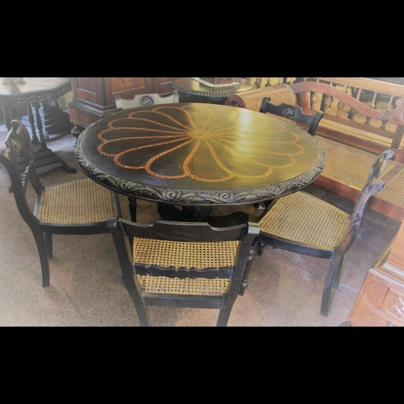 Ebony Dining Table with five chairs