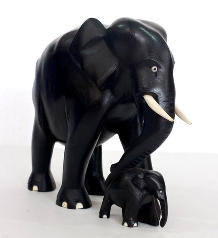 Elephant with small baby Ebony wood