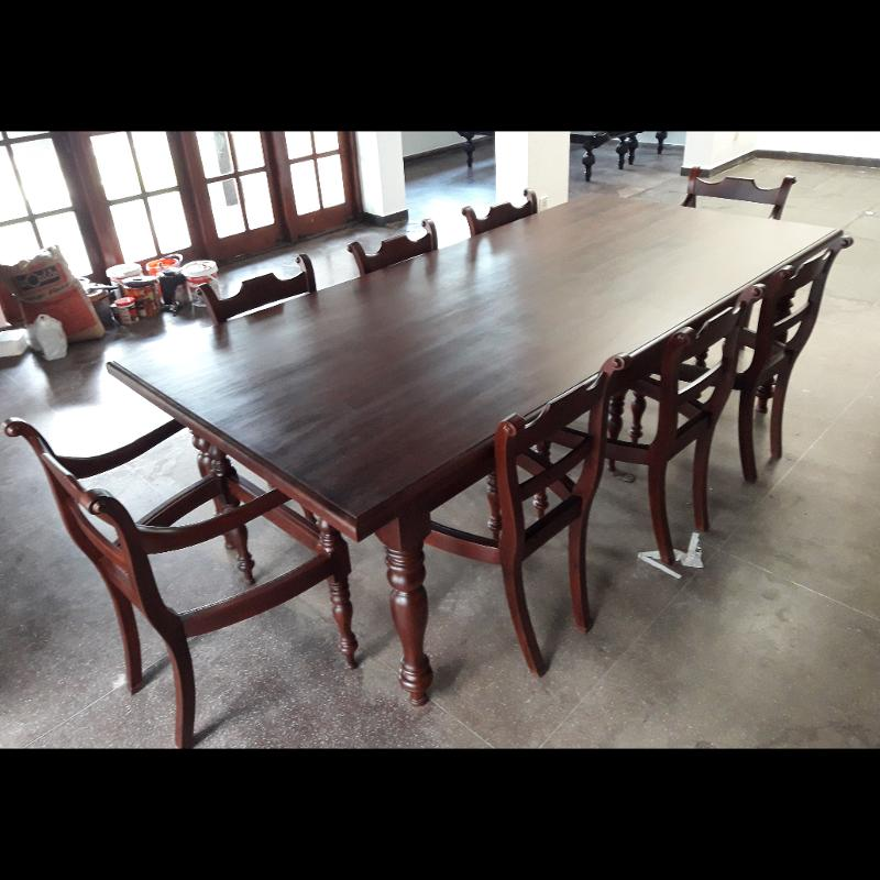 Jackwood Dining Table With Eight Chairs Kitchen Table Modern Furniture Sri Lanka Colonial Furniture Furniture Exporter